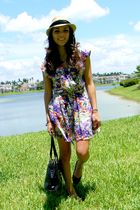 black Steve Madden shoes - black Meet Mark purse - purple Forever 21 dress - gol