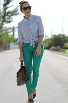 green JC Penney pants - black Forever 21 shoes - light blue romwe shirt