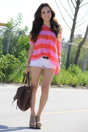 white Forever 21 shorts - bubble gum stripes H&amp;M shirt