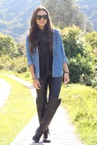 black Forever 21 boots - sky blue Forever 21 shirt - black unknown brand scarf