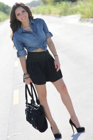 black Steve Madden pumps - black Roxy bag - black Forever 21 skirt