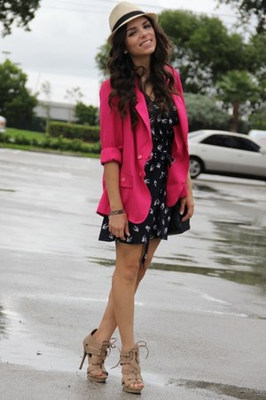 Shoedazzle shoes - bird print GoJane dress - Agaci hat - thrifted vintage blazer