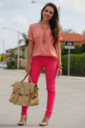 hot pink Zara jeans - light pink vintage shirt - tan Mimi Boutique bag