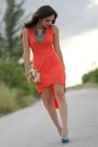 Turquoise-blue-shoedazzle-shoes-carrot-orange-asymmetrical-causeway-mall-dress