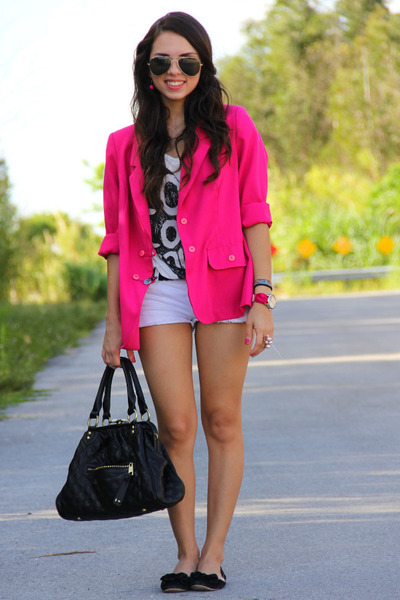 hot pink vintage blazer - white Forever 21 shirt - black Mimi Boutique bag