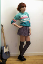 aquamarine vintage sweater - charcoal gray Yellow is Gold shorts - suede Deena &