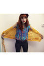 Navy-flared-madewell-jeans-teal-bdg-blouse-mustard-banana-republic-cardigan-
