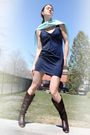 Shoegasm-boots-h-m-dress-blue-k-design-scarf