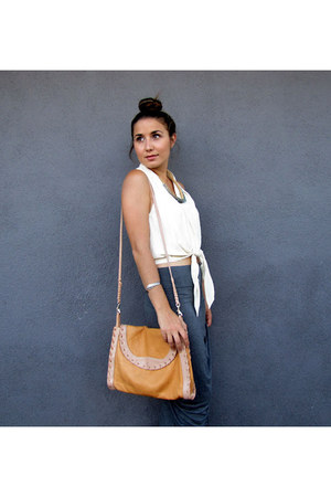 tied front vintage top - vintage bag - grey Forever21 skirt