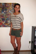 striped Forever 21 shirt - olive green Mossimo shorts