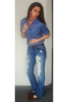 blue Forever 21 shirt - blue JC Penny jeans - gold JC Penny necklace