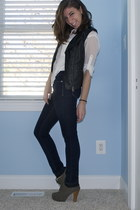 black leather H&M vest - heather gray lace-up booties GoJane heels