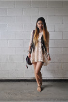 lace Forever 21 dress - fringe H&M vest - Jeffrey Campbell flats