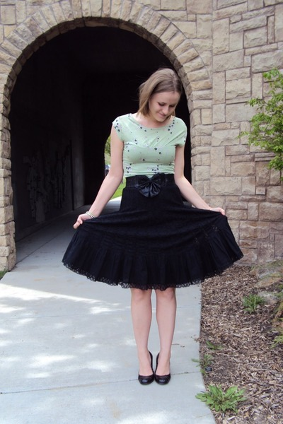 green Frenchi top - black urban wear skirt - black Wet Seal belt - black wild di