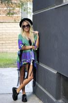 black creepers TUK shoes - black buxton hat - blue kimono Reverse blouse