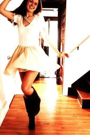 white Nordstrom t-shirt - beige Le Bon Marche Paris skirt - brown DSW boots - wh