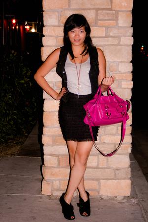 pink liz claiborne purse - black charles albert boots - black Vtg vest