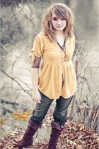 gold elle shirt - brown mm blouse - brown American Eagle boots - blue TJ Maxx je