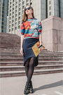 Black-sunglasses-navy-skirt-orange-top