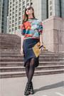 Black-sunglasses-navy-skirt-orange-top