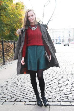 brick red DIY sweater - green H&M dress