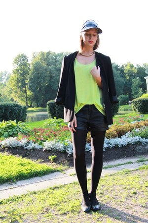 chartreuse lindexlindex top - black asos hat