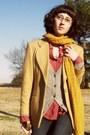 Camel-blazer-heather-gray-delias-cardigan-red-shirt-mustard-scarf-dark-g