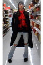 black Old Navy coat - red vest - blue abercrombie and fitch jeans - red scarf