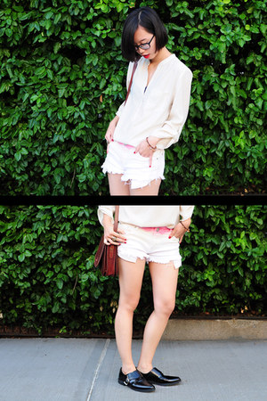 pink ombre Pixie Market shorts - brown leather The Bridge bag
