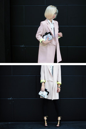 neutral two-tone Pixie Market blazer - off white holographic Mata Hari bag