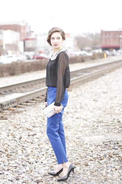 cobalt banana republic pants - BCBGeneration bag - Charming Charlie blouse