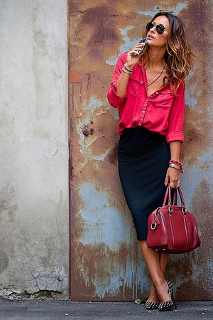 red shirt - red bag - black skirt - heels - glasses