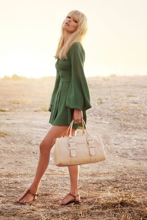 olive green olive dress - cream cream bag - brown flats