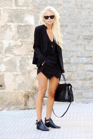 black boots - black dress - black coat - black bag - sunglasses