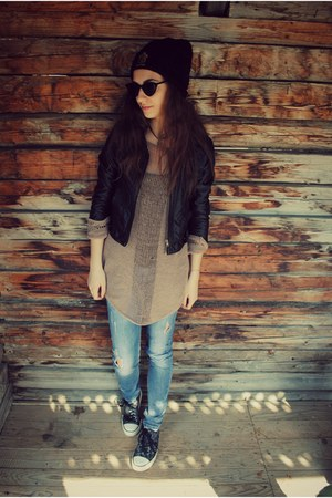 jeans - the leftbank hat - Zara jacket - sneakers