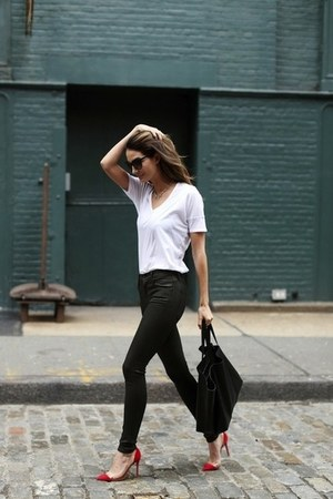black bag - sunglasses - red heels - black pants - white skirt