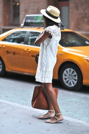 dress - hat - bag - flats