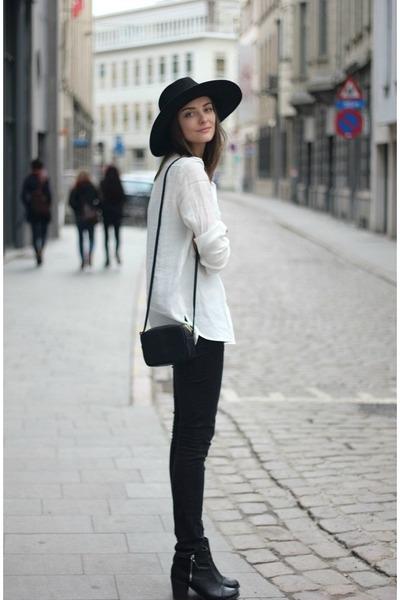 Black boots black jeans black hats white shirts black for White shirt black pants