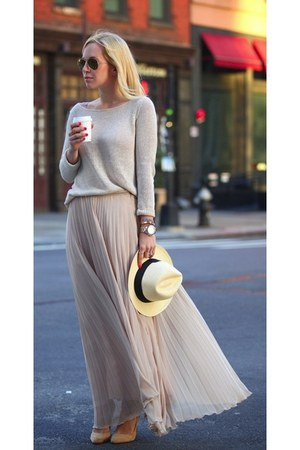 hat - grey sweater - sunglasses - skirt - heels