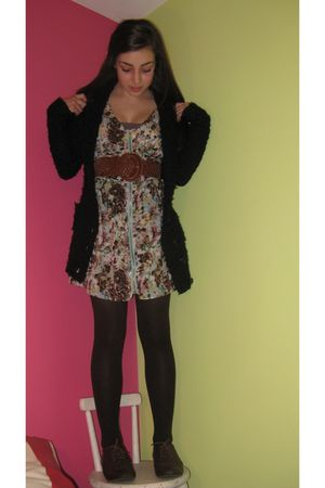 black winners cardigan - papaya dress - brown tights - brown shoes