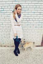 light pink striped H&M dress - blue printed H&M scarf - black suede Aldo wedges