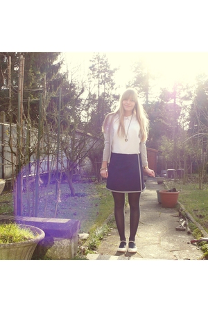 gray Promod cardigan - white thrifted blouse - blue thrifted skirt - blue tights