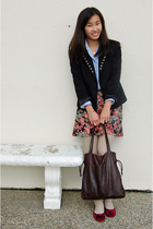 beige cable knit tights - red velvet shoes - black diy blazer - blue Jcrew shirt
