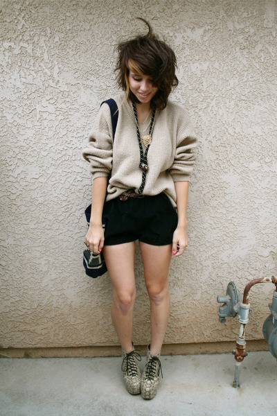 beige knit thrifted sweater - black hand-made shorts