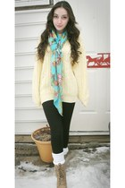 camel lace ups boots - light yellow knitted thrifted sweater - aquamarine floral