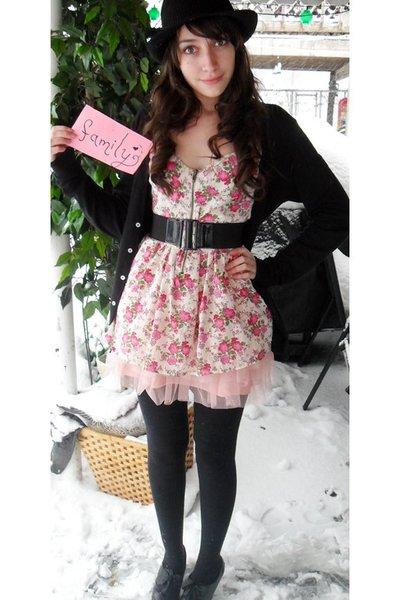 pink Forever 21 blouse - black Forever 21 belt - pink skirt - black Forever 21 s