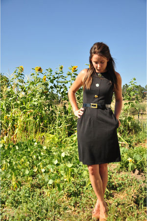 black Donna Morgan dress - beige Jessica Simpson shoes - black Donna Morgan belt