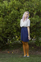 navy thrifted dress - mustard tights - black supre belt - navy vintage pumps