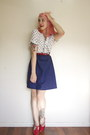 Blue-vintage-dress-ruby-red-thrifted-bag-ruby-red-t-bar-golden-ponies-heels