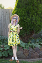 yellow Princess Highway dress - camel thrifted hat - brown thrifted belt